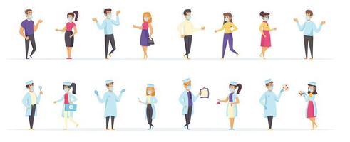 läkare och patienter som bär medicinska masker vektor