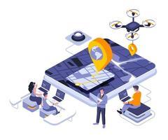 GPS-Navigation isometrisches Design vektor