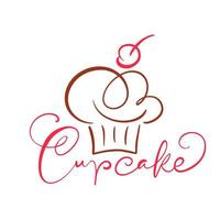 kalligraphisches Textdesign des Cupcakes vektor