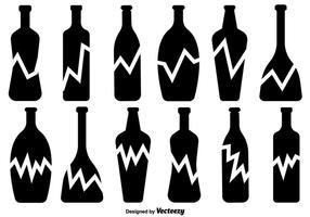 Zerbrochene Flasche Vector Icons Set