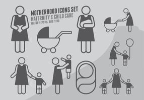 Mutterschaft Icons Set vektor