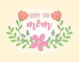 glückliche Muttertagsbeschriftung und Blumengrußkarte vektor
