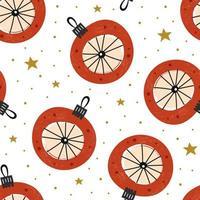 nahtloses Muster der roten Glaskugel-Weihnachtsdekoration
