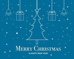 Frohe Weihnachten und ein frohes neues Jahr Flat Design Banner vektor