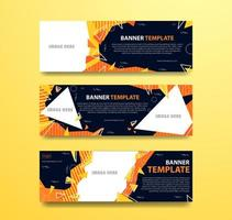 abstraktes orange und gelbes Bannerset mit Fotorahmen vektor