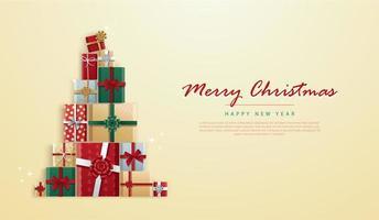 Geschenke in Weihnachtsbaumform und Kopierraum vektor