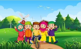 Kinder im Freien Naturhintergrund