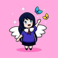 süßes Engelsmädchen mit Schmetterlingskarikatur vektor
