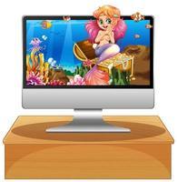 isolierter Computer mit Unterwasser-Meerjungfrau-Szene auf dem Bildschirm vektor