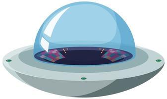 isoliertes UFO auf weißem Hintergrund vektor