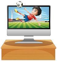 fotboll på datorns datorskärm