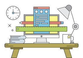 Free Vector Illustration mit Büro-Schreibtisch.