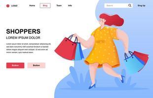 shoppare platt målsidans sammansättning vektor