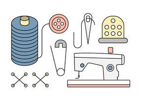 Linear Nähen Icons und Werkzeuge vektor
