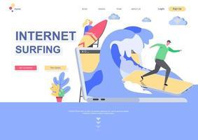 internetsurfning platt målsidesmall vektor