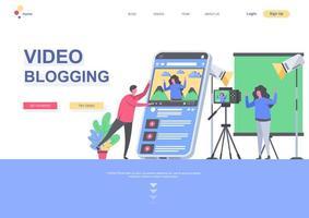 videobloggning platt målsidesmall vektor