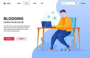Blogging Flat Landing Page Zusammensetzung vektor