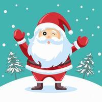 glad blinkande jultomten design för julkort vektor