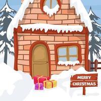 Landschaftsgestaltung mit Winterhaus für Weihnachtskarte vektor