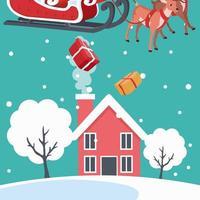 Weihnachtsmann, der Geschenke auf Haus fallen lässt