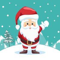 Weihnachtsmann winkt im Schnee