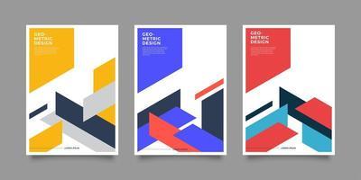 färgglada omslag med geometriska former vektor