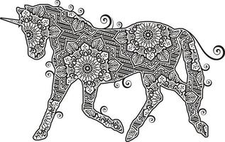 Einhorn-Mandala im Strichgrafikstil vektor