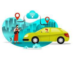 Mädchen, das Taxi oder Autos für Reisen in der Stadt bestellt vektor