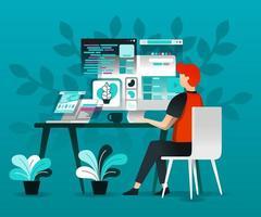 designer arbetar med internet vektor