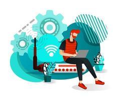 män som sitter på routerhubb och anslutna till wifi-internet vektor