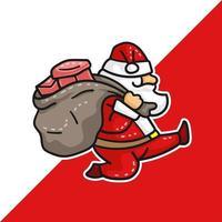 Weihnachtsmann läuft mit einem Sack vektor