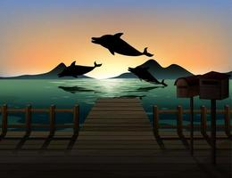 delfin i natur scen siluett vektor
