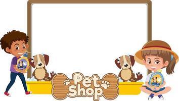 leere Banner mit Kind und niedlichem Hund und Tierhandlung-Logo lokalisiert auf weißem Hintergrund vektor