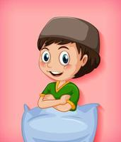 manlig muslimsk seriefigur med kudde vektor
