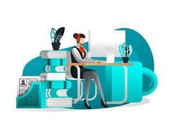 kvinnors tekniska support som arbetar vid skrivbordet