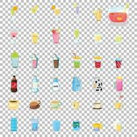 Satz von verschiedenen Arten von alkoholfreien oder süßen Getränken isoliert auf transparentem Hintergrund