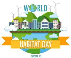 världens livsmiljö dag 5 oktober ikonlogotyp med städer eller stad på världen