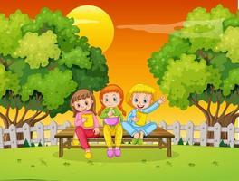 Kinder an unserer Tür Natur Hintergrund