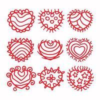uppsättning röda kärlekshjärtor