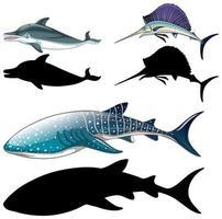 uppsättning fiskkaraktärer och dess silhuett på vit bakgrund