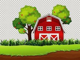 rote Scheune mit Wiese und Apfelbaum auf transparentem Hintergrund