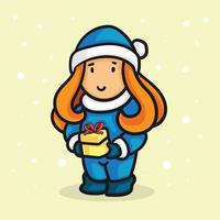 flicka som bär jultomtendräkt