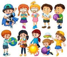 Gruppe von Kindern Zeichentrickfigur vektor