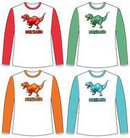 uppsättning av olika färger dinosaurie skärm på långärmad t-shirt