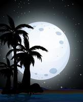 Sommernachtszene Silhouette vektor