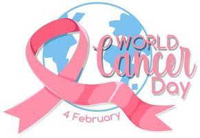 Weltkrebstag-Logo oder Banner mit einem rosa Band auf dem Globus vektor