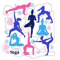 en uppsättning silhuetter av yogaställningar