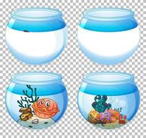 Satz von verschiedenen Aquariumbehältern lokalisiert auf transparentem Hintergrund vektor