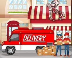 schnelles und kostenloses Lieferlogo mit Lieferwagen oder LKW im Café vektor