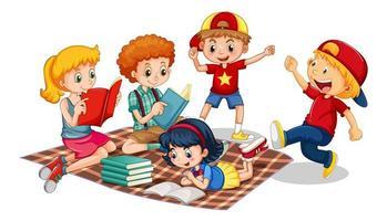 Gruppe der Zeichentrickfigur der kleinen Kinder auf weißem Hintergrund